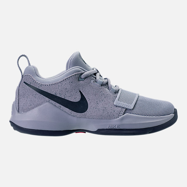Right view of Boys' Preschool Nike PG 1 Basketball Shoes in Glacier Grey/Armory Blue
