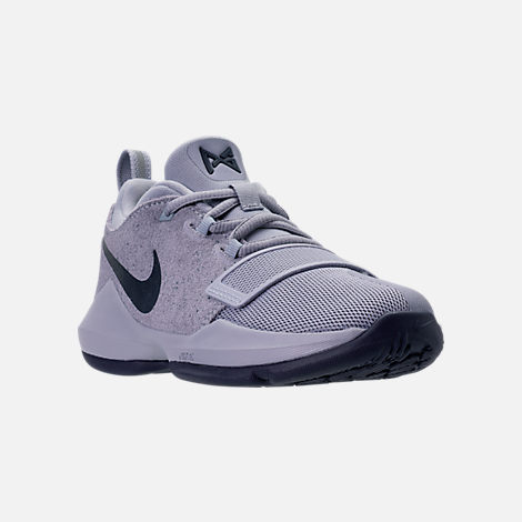 Three Quarter view of Boys' Preschool Nike PG 1 Basketball Shoes in Glacier Grey/Armory Blue