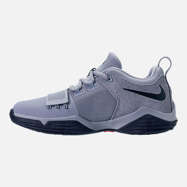 Left view of Boys' Preschool Nike PG 1 Basketball Shoes in Glacier Grey/Armory Blue