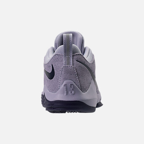 Back view of Boys' Preschool Nike PG 1 Basketball Shoes in Glacier Grey/Armory Blue