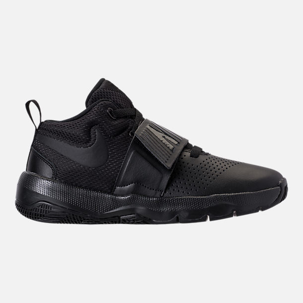 Right view of Boys' Big Kids' Nike Team Hustle D8 Basketball Shoes in Black/Black