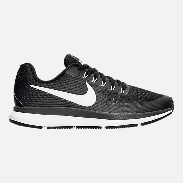 Right view of Boys' Grade School Nike Zoom Pegasus 34 Running Shoes in Black/White/Dark Grey/Anthracite