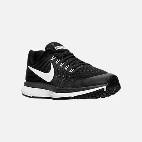 Three Quarter view of Boys' Grade School Nike Zoom Pegasus 34 Running Shoes in Black/White/Dark Grey/Anthracite