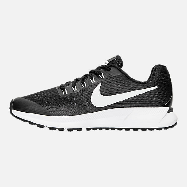 Left view of Boys' Grade School Nike Zoom Pegasus 34 Running Shoes in Black/White/Dark Grey/Anthracite