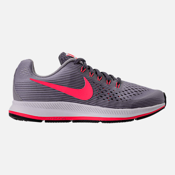 Right view of Girls' Grade School Nike Zoom Pegasus 34 Running Shoes in Provence Purple/Solar Red