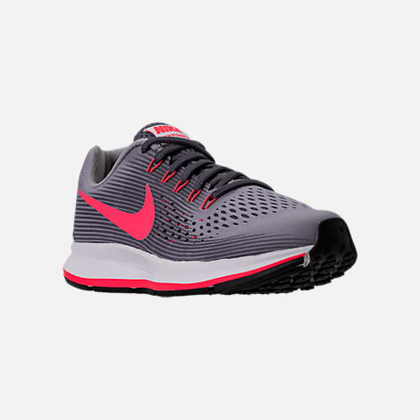 Three Quarter view of Girls' Grade School Nike Zoom Pegasus 34 Running Shoes in Provence Purple/Solar Red