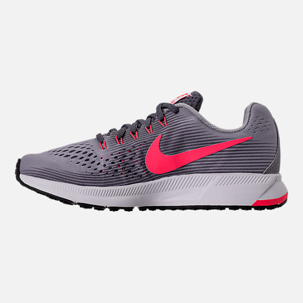 Left view of Girls' Grade School Nike Zoom Pegasus 34 Running Shoes in Provence Purple/Solar Red