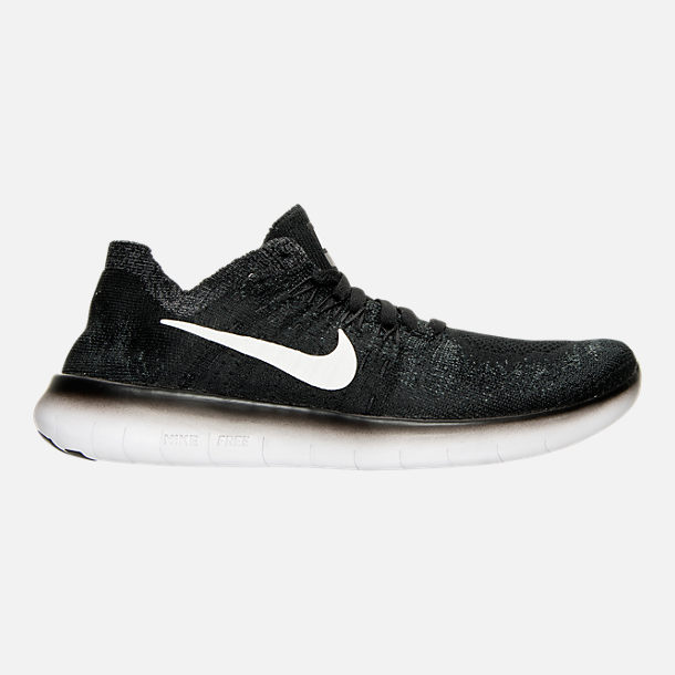 Right view of Boys' Grade School Nike Free RN Flyknit 2017 Running Shoes in Black/White/Anthracite/Volt