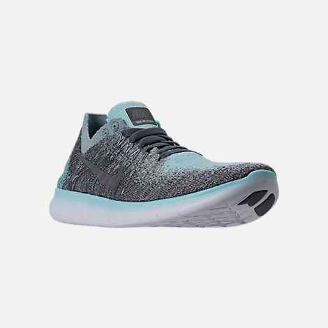 Three Quarter view of Girls' Grade School Nike Free RN Flyknit 2017 Running Shoes in Metallic Silver/Reflect Silver/Cool Grey
