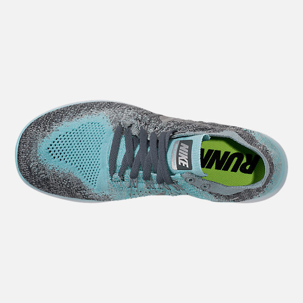 Top view of Girls' Grade School Nike Free RN Flyknit 2017 Running Shoes in Metallic Silver/Reflect Silver/Cool Grey