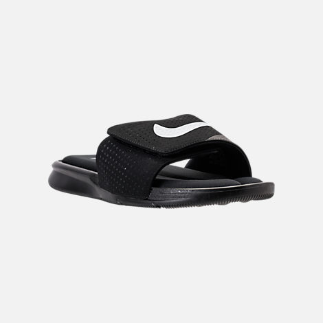 Three Quarter view of Men's Nike Ultra Comfort Slide Sandals in Black/White/Black