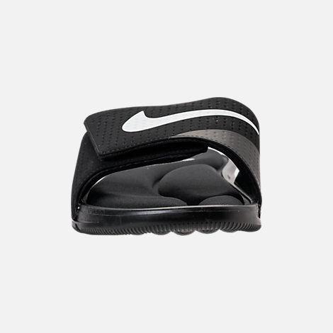 Front view of Men's Nike Ultra Comfort Slide Sandals in Black/White/Black