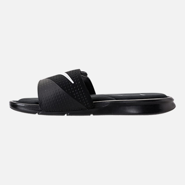 Left view of Men's Nike Ultra Comfort Slide Sandals in Black/White/Black