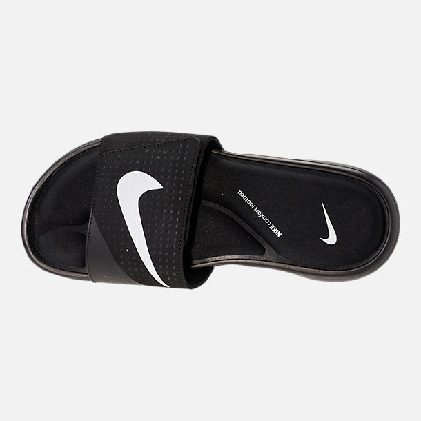 Top view of Men's Nike Ultra Comfort Slide Sandals in Black/White/Black