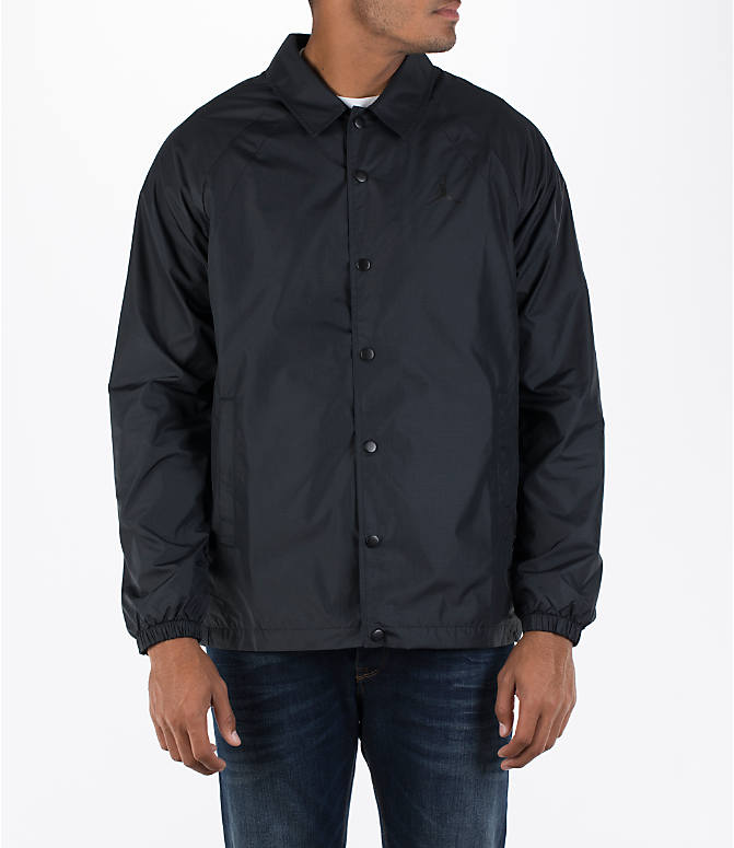 Front view of Men's Air Jordan Coaches Jacket in Black