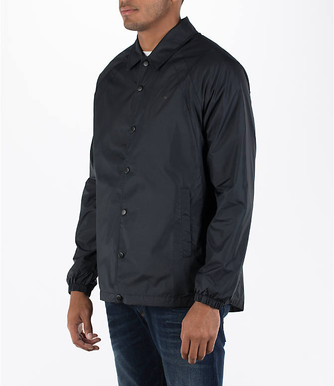 Front Three Quarter view of Men's Air Jordan Coaches Jacket in Black