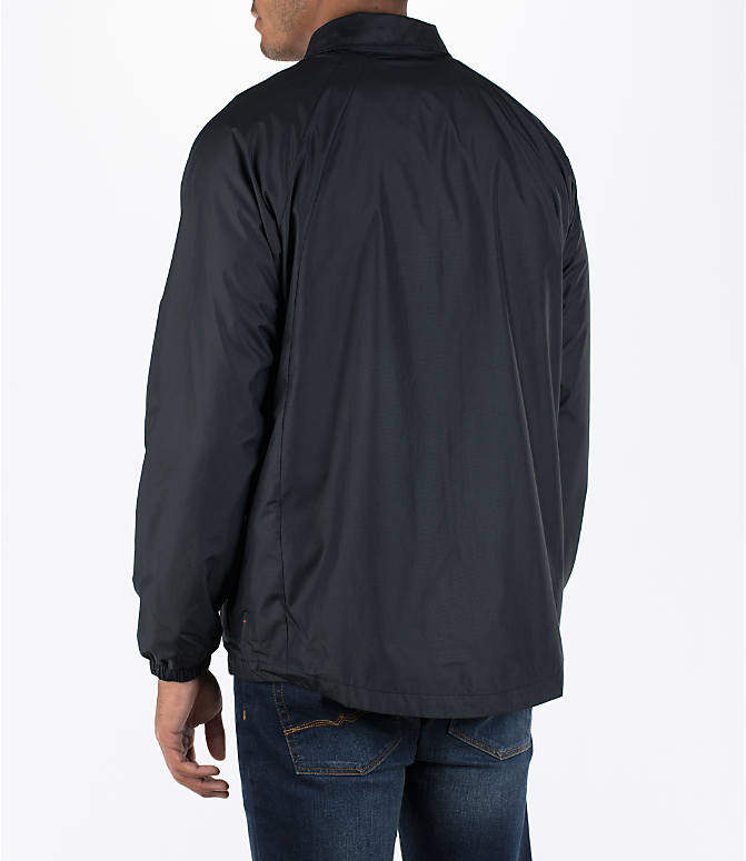 Back Left view of Men's Air Jordan Coaches Jacket in Black