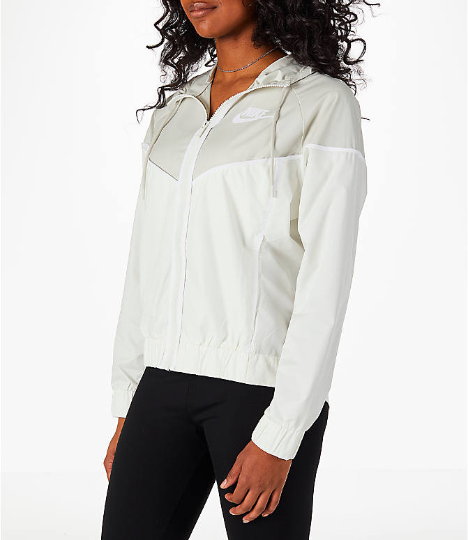 Front Three Quarter view of Women's Nike Sportswear Woven Windrunner Jacket in Sail/Light Bone
