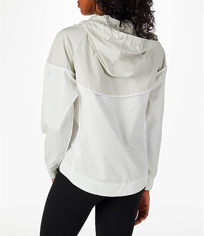 Back Left view of Women's Nike Sportswear Woven Windrunner Jacket in Sail/Light Bone