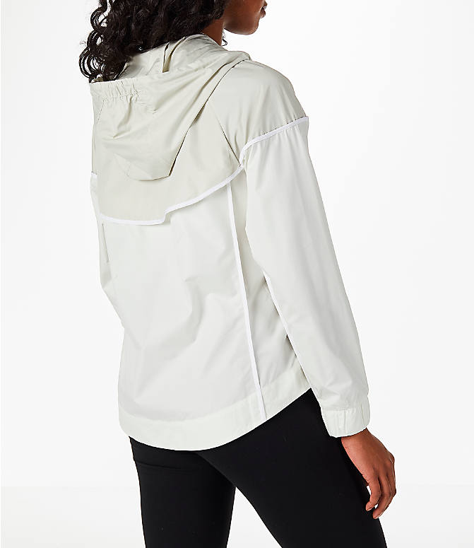 Back Right view of Women's Nike Sportswear Woven Windrunner Jacket in Sail/Light Bone