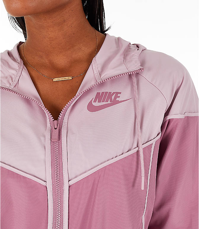 Detail 1 view of Women's Nike Sportswear Woven Windrunner Jacket in Plum Dust/Plum Chalk