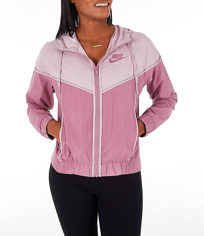 Front view of Women's Nike Sportswear Woven Windrunner Jacket in Plum Dust/Plum Chalk