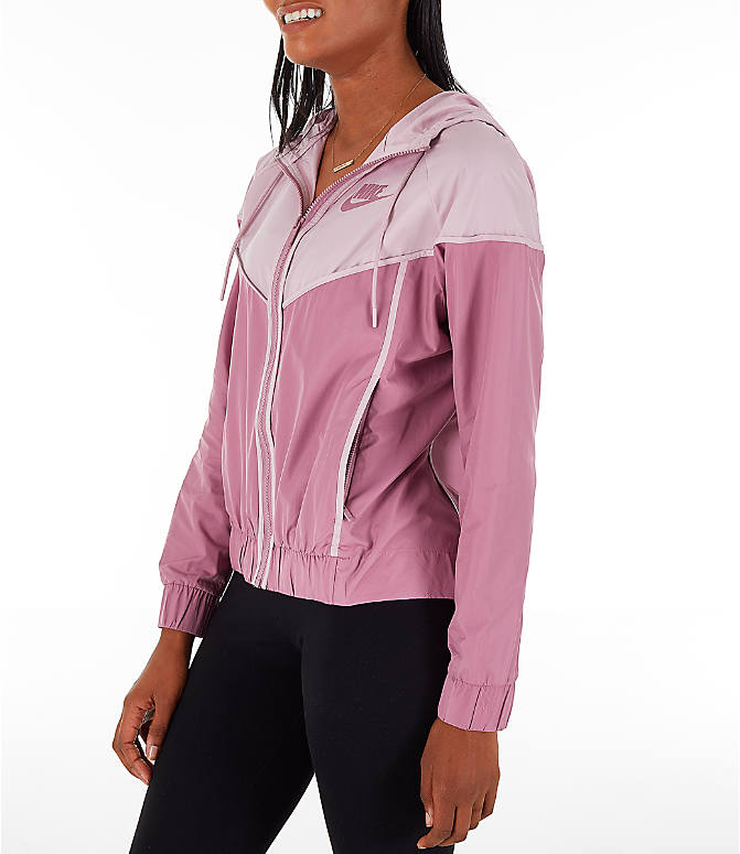 Front Three Quarter view of Women's Nike Sportswear Woven Windrunner Jacket in Plum Dust/Plum Chalk