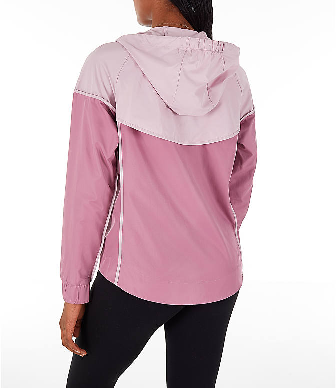 Back Left view of Women's Nike Sportswear Woven Windrunner Jacket in Plum Dust/Plum Chalk