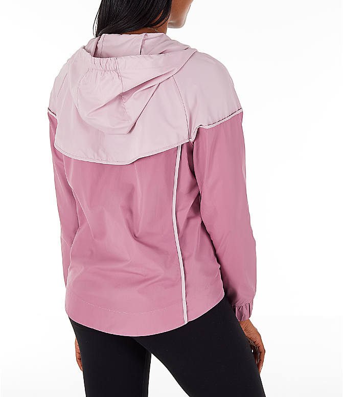 Back Right view of Women's Nike Sportswear Woven Windrunner Jacket in Plum Dust/Plum Chalk