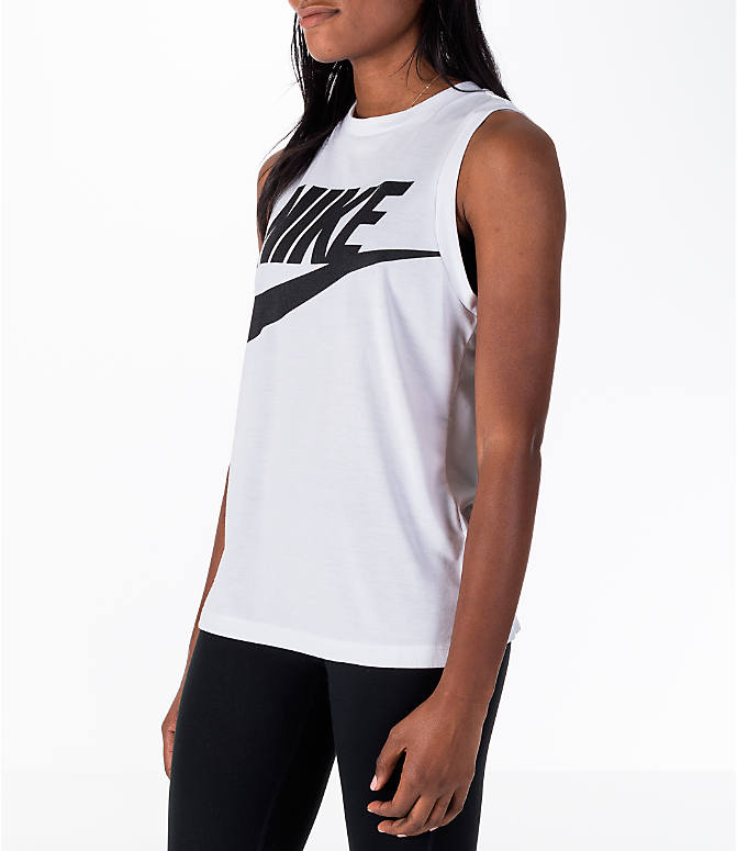 Front Three Quarter view of Women's Nike Sportswear Essential Muscle Tank in White/Black