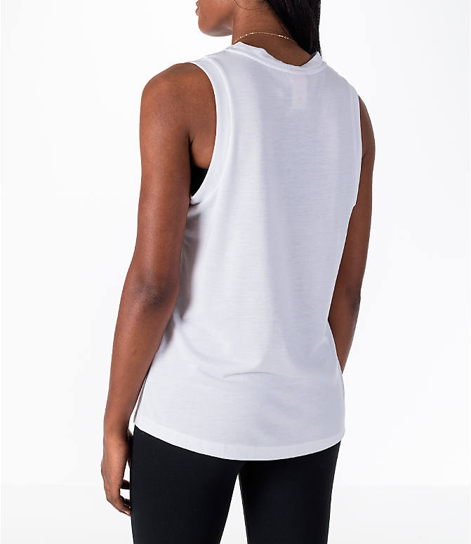 Back Left view of Women's Nike Sportswear Essential Muscle Tank in White/Black