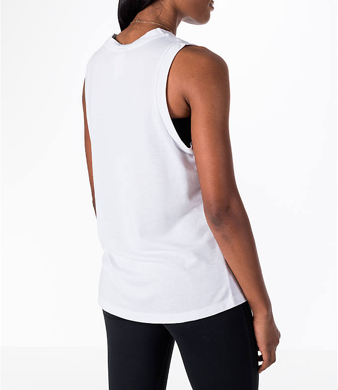 Back Right view of Women's Nike Sportswear Essential Muscle Tank in White/Black