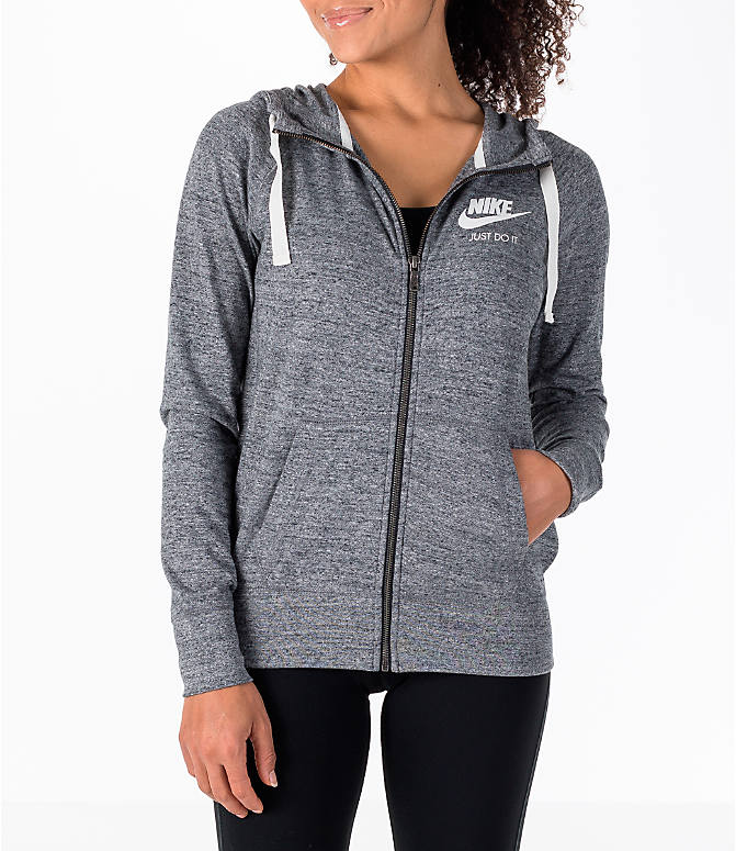 Front view of Women's Nike Gym Vintage Full-Zip Hoodie in Carbon Heather/Sail