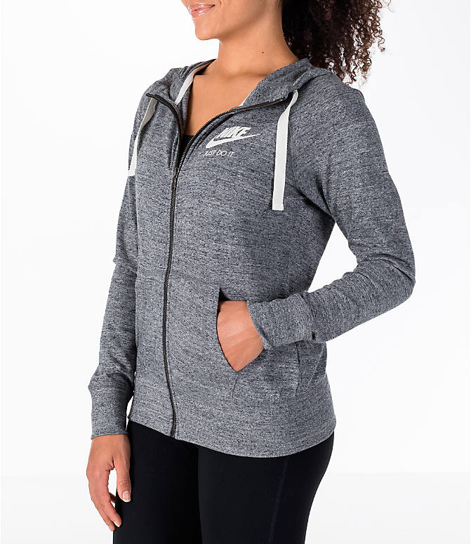 77884e4fe326 Front Three Quarter view of Women s Nike Gym Vintage Full-Zip Hoodie in  Carbon Heather