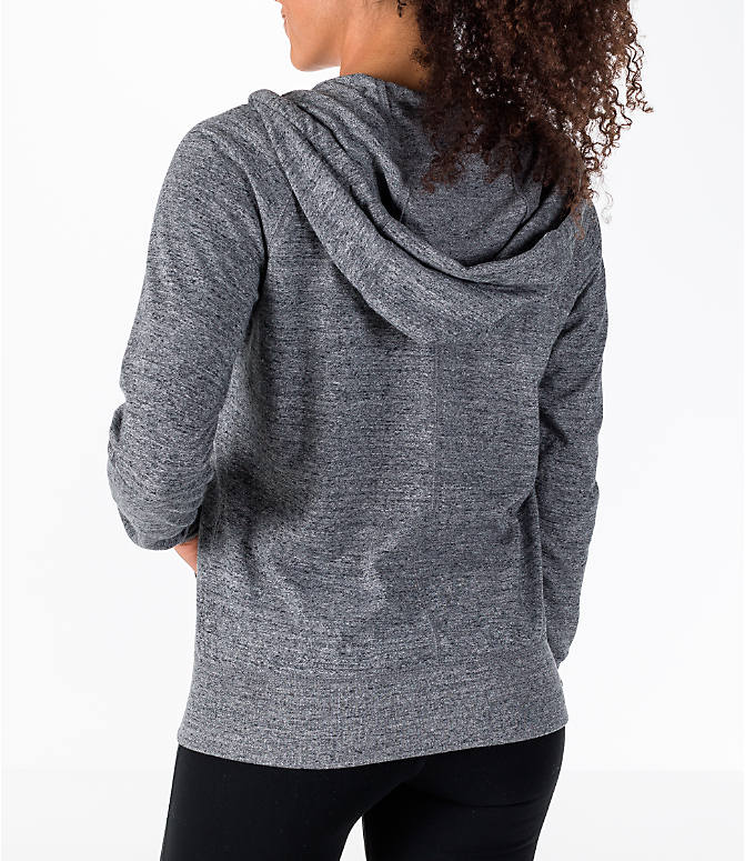 Back Left view of Women's Nike Gym Vintage Full-Zip Hoodie in Carbon Heather/Sail