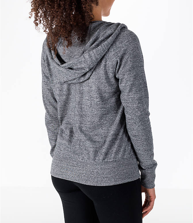 Back Right view of Women's Nike Gym Vintage Full-Zip Hoodie in Carbon Heather/Sail