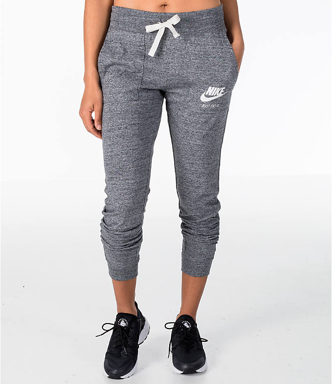 dc05847e14c743 Front view of Women's Nike Sportswear Gym Vintage Jogger Pants in Carbon  Heather/Sail