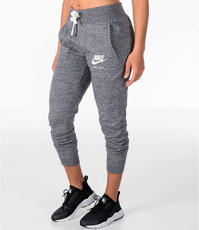 919d753154128 Front Three Quarter view of Women's Nike Sportswear Gym Vintage Jogger Pants  in Carbon Heather/