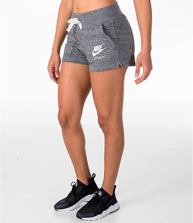Front Three Quarter view of Women's Nike Sportswear Gym Vintage Shorts in Carbon Heather/Sail