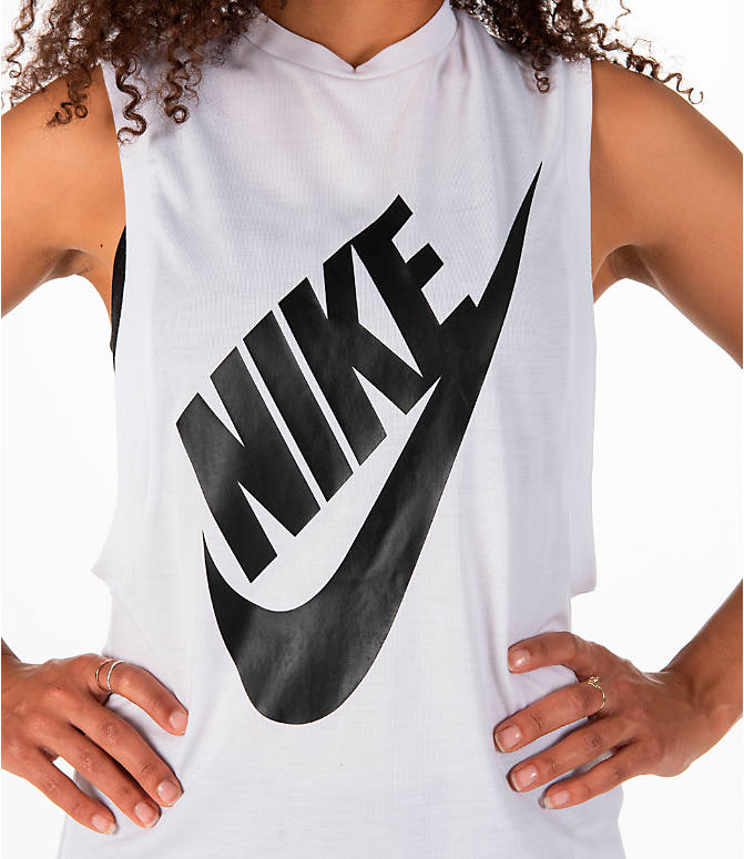 Detail 1 view of Women's Nike Essential Muscle Tank in White/Black