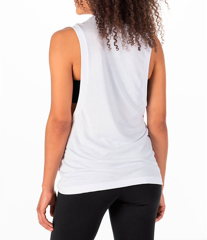 Back Left view of Women's Nike Essential Muscle Tank in White/Black