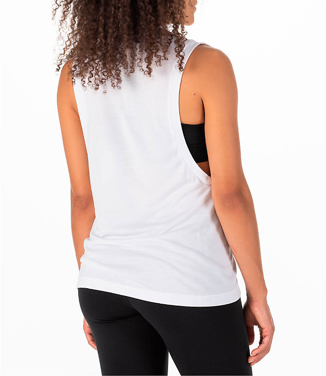Back Right view of Women's Nike Essential Muscle Tank in White/Black