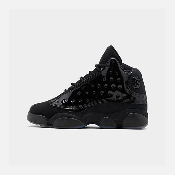 Right view of Big Kids' Air Jordan Retro 13 Basketball Shoes in Black/Black