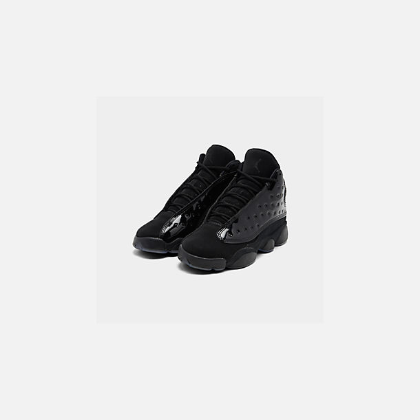Three Quarter view of Big Kids' Air Jordan Retro 13 Basketball Shoes in Black/Black