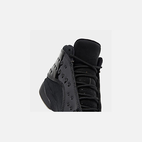 Front view of Big Kids' Air Jordan Retro 13 Basketball Shoes in Black/Black