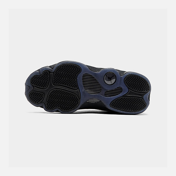 Bottom view of Big Kids' Air Jordan Retro 13 Basketball Shoes in Black/Black