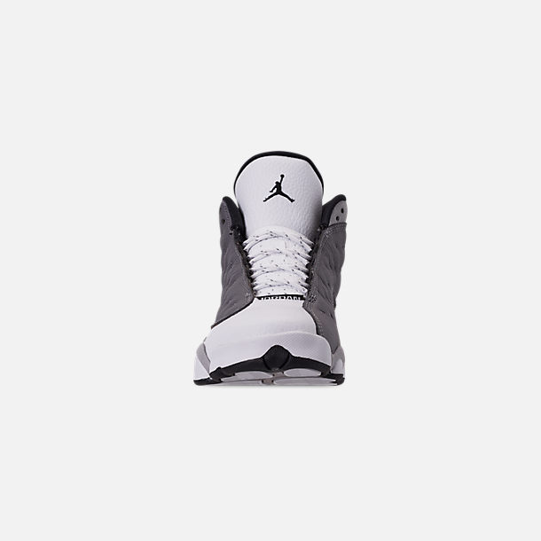 Front view of Big Kids' Air Jordan Retro 13 Basketball Shoes in Atmosphere/Black/White/University