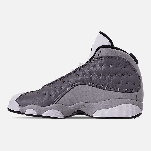 Left view of Big Kids' Air Jordan Retro 13 Basketball Shoes in Atmosphere/Black/White/University