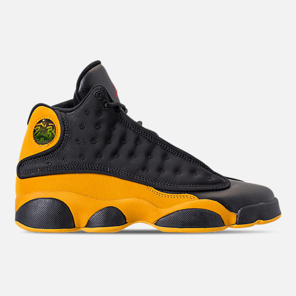 Right view of Big Kids' Air Jordan Retro 13 Basketball Shoes in Black/University Red/University Gold