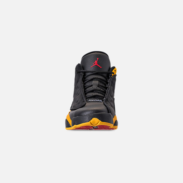 Front view of Big Kids' Air Jordan Retro 13 Basketball Shoes in Black/University Red/University Gold
